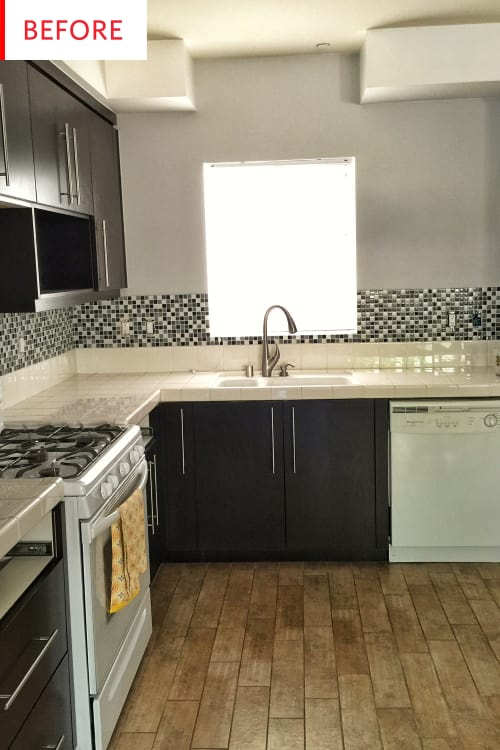 Tile Countertops - Kitchen Remodel Before After Photos | Apartment ...