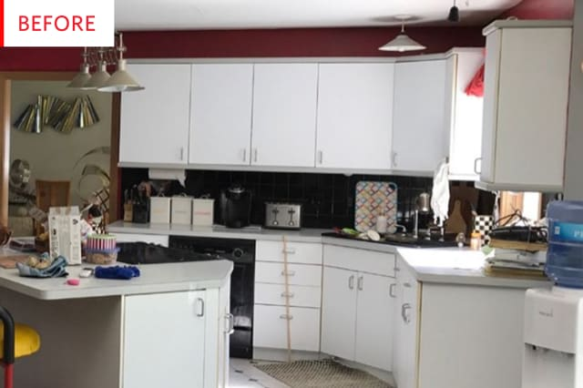 Before and After: This Kitchen Has a Budget Solution For Dated Cabinet Doors