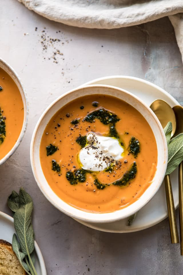 Sweet Potato and Sage Soup with Burrata Is a Dream Come True — Delicious Links
