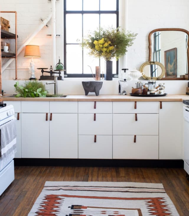 A Rental Kitchen Spiffed Up With Leather Cabinet Pulls