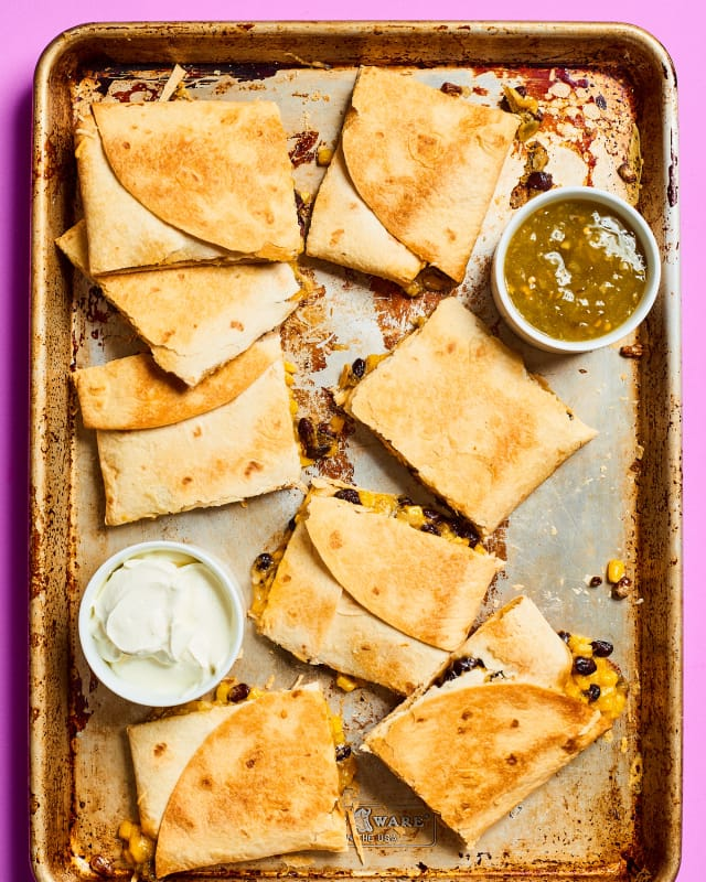 A Large-Format Black Bean and Corn Quesadilla for a Crowd