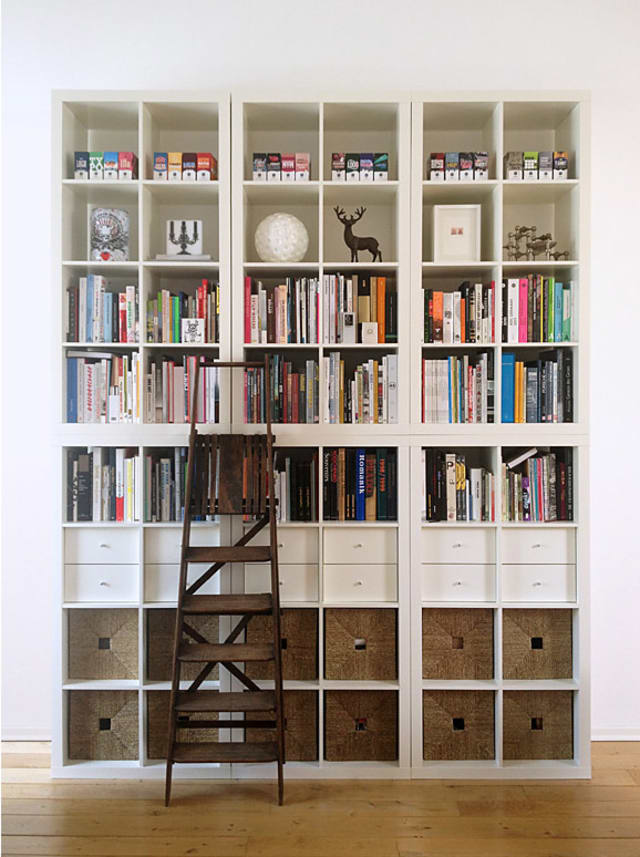 15 super smart ways to use the ikea kallax bookcase apartment therapy. Black Bedroom Furniture Sets. Home Design Ideas