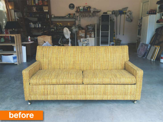 Before Amp After An Affordable Mid Century Modern Couch Makeover