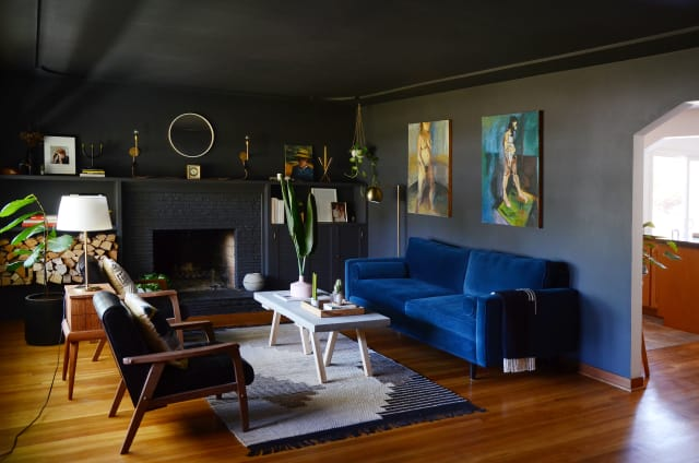 Black Wall Paint Living Room Inspiration Apartment Therapy