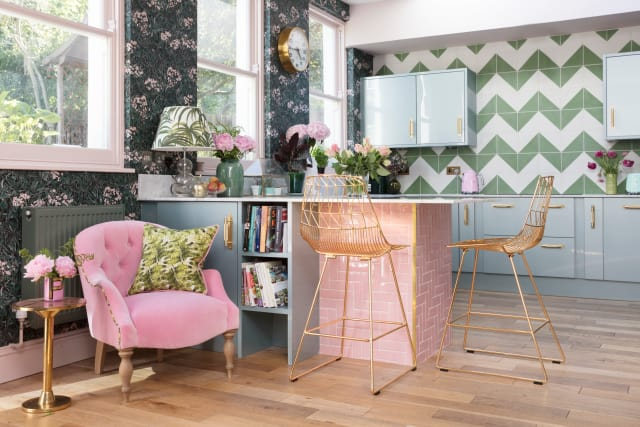 Pink, green, and blue in Emily Murray's kitchen