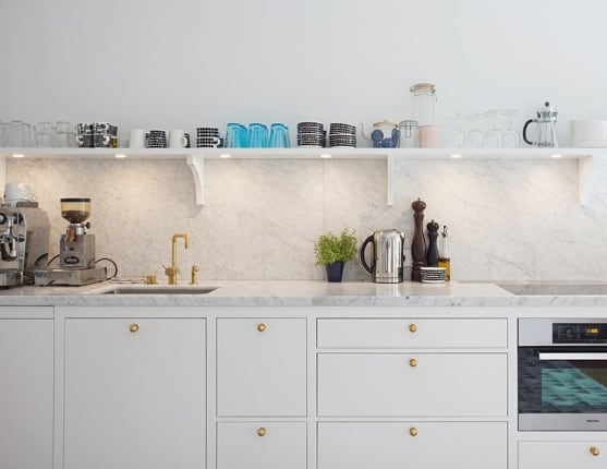 Marble Countertops And Backsplash In A Kitchen From Per Jansson, Via  Seventeendoors.