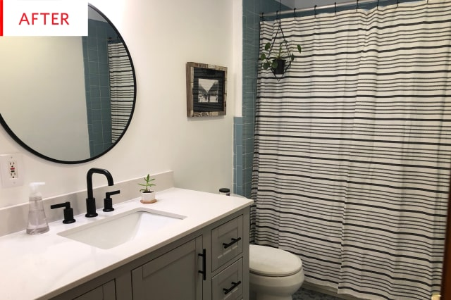 cheap bathroom remodel vanity before and after apartment therapy