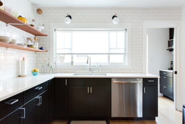 kitchen window treatments black 1 do even need curtains what to know before buying kitchen window treatments kitchn