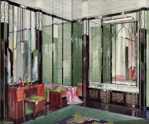 Colorful Tile In 1920s Art Deco Bathrooms Apartment Therapy - Art-deco-green-bathroom-tiles