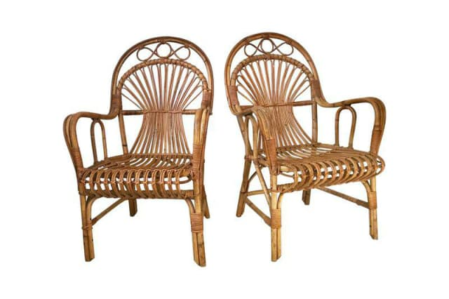 Vintage Franco Albini-Style Rattan Armchair Pair, $385 - What Are The Best Places To Buy Used Furniture Online? Apartment