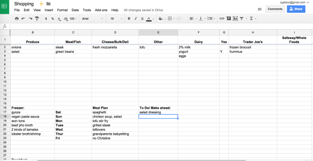 How I Use Google Sheets For Meal Planning Kitchn