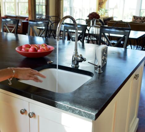 All About: Soapstone Countertops | Kitchn on granite countertops, bamboo countertops, stone countertops, obsidian countertops, kitchen countertops, metal countertops, gray limestone countertops, butcher block countertops, silestone countertops, corian countertops, copper countertops, marble countertops, quartz countertops, slate countertops, solid surface countertops, paperstone countertops, concrete countertops, hanstone countertops, agate countertops, black countertops,