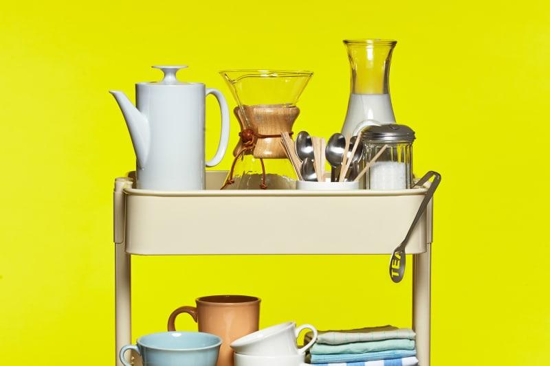 the ikea r skog cart as coffee station kitchn. Black Bedroom Furniture Sets. Home Design Ideas