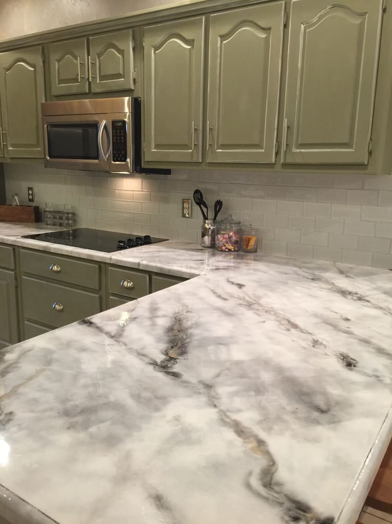 Faux marble epoxy kitchen countertops makeover apartment - Faux marble bathroom countertops ...