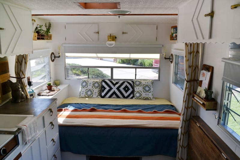 House Tour A Couple Shares A 120 Square Foot Trailer