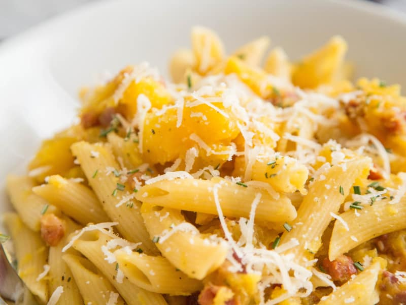 Recipe: Penne with Acorn Squash and Pancetta