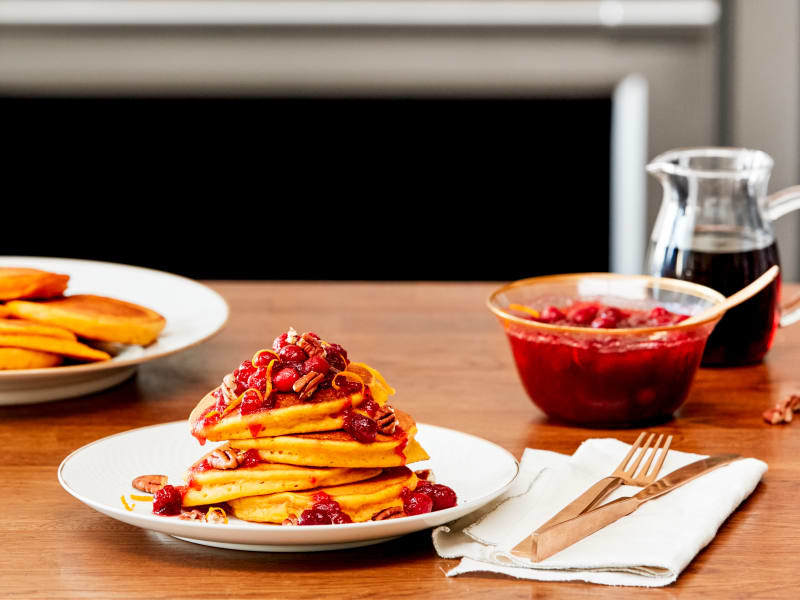 Recipe: Day-After-Thanksgiving Pumpkin Pancakes with Cranberry Topping