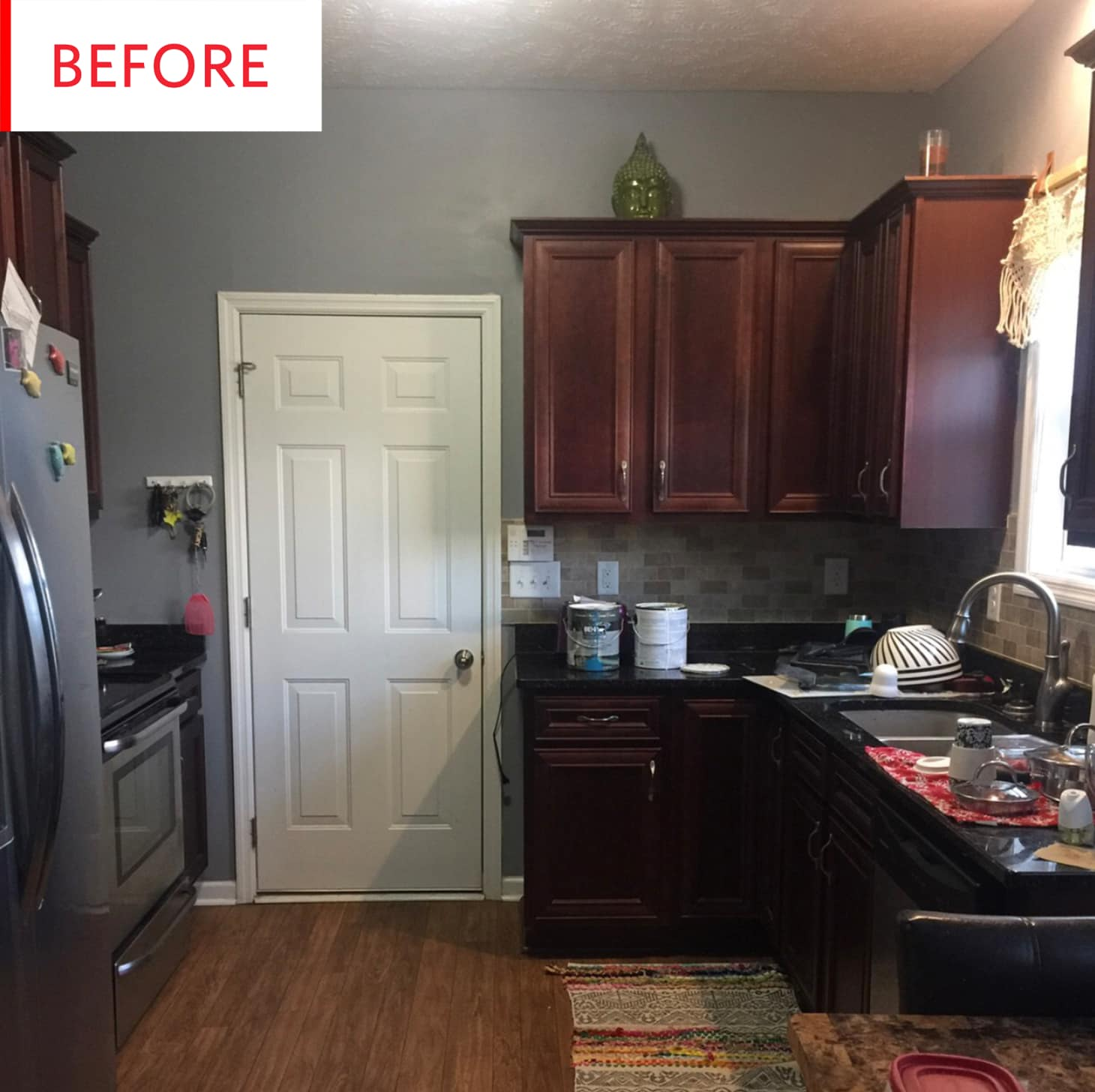 Colorful Kitchen Before And After Blue Painted Cabinets | Apartment ...