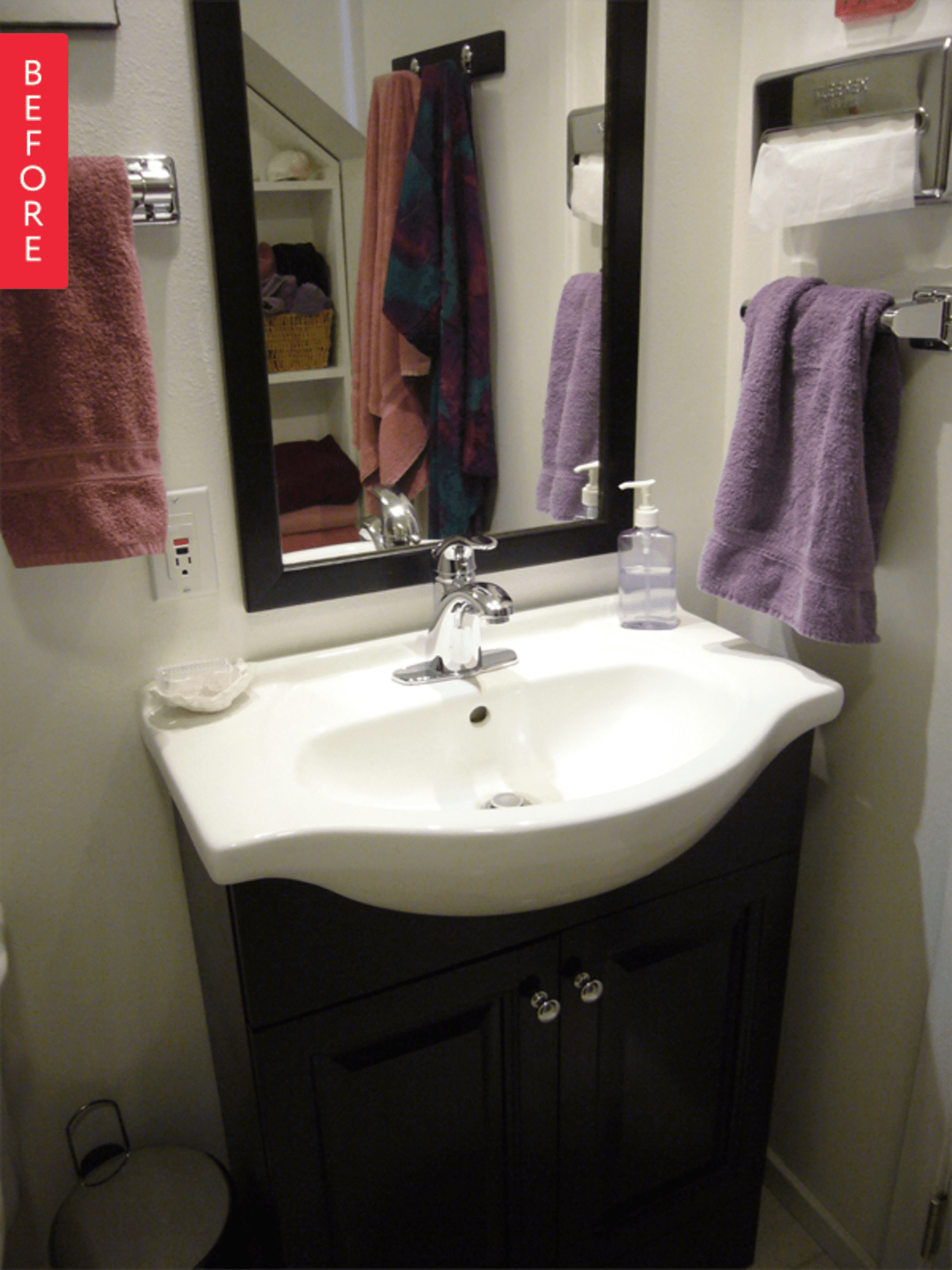 5 Fresh Clean And Spring Worthy Bathroom Colors: Before & After: A Tiny Powder Room Gets Patterned