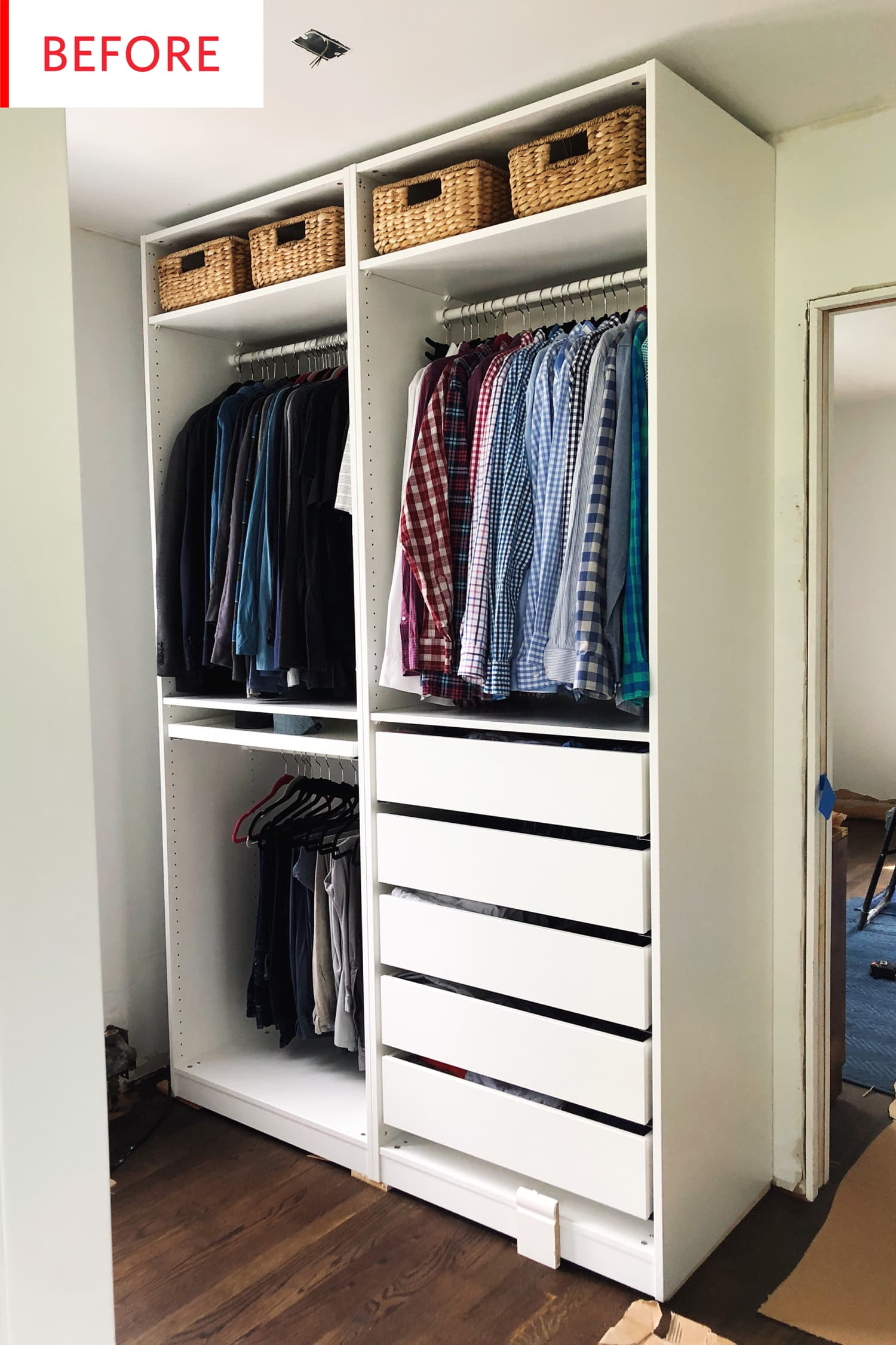 smart ikea pax closet hack  before and after photos