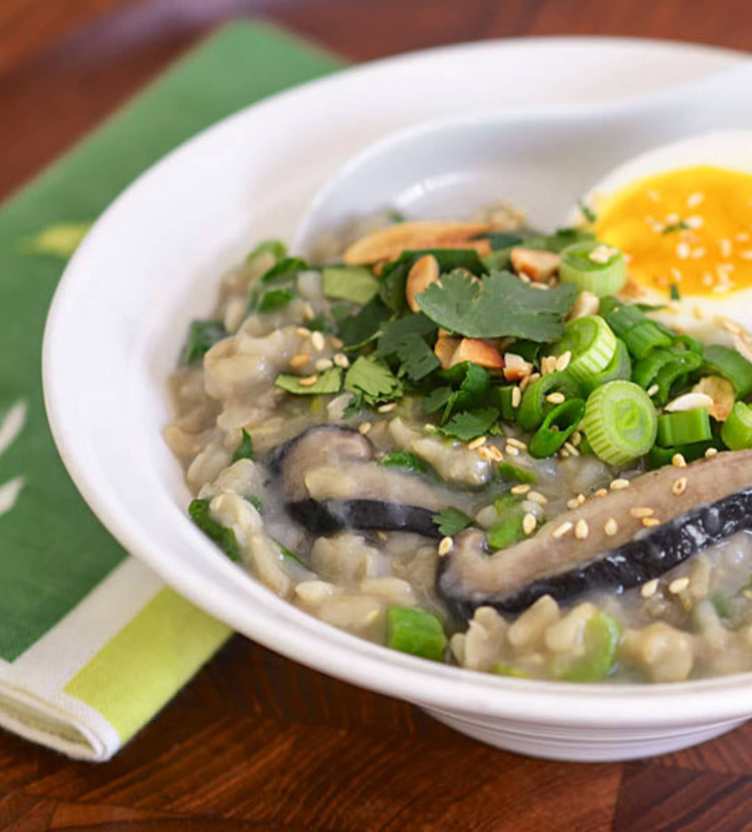 Brown Rice Congee with Shiitake Mushrooms and Greens