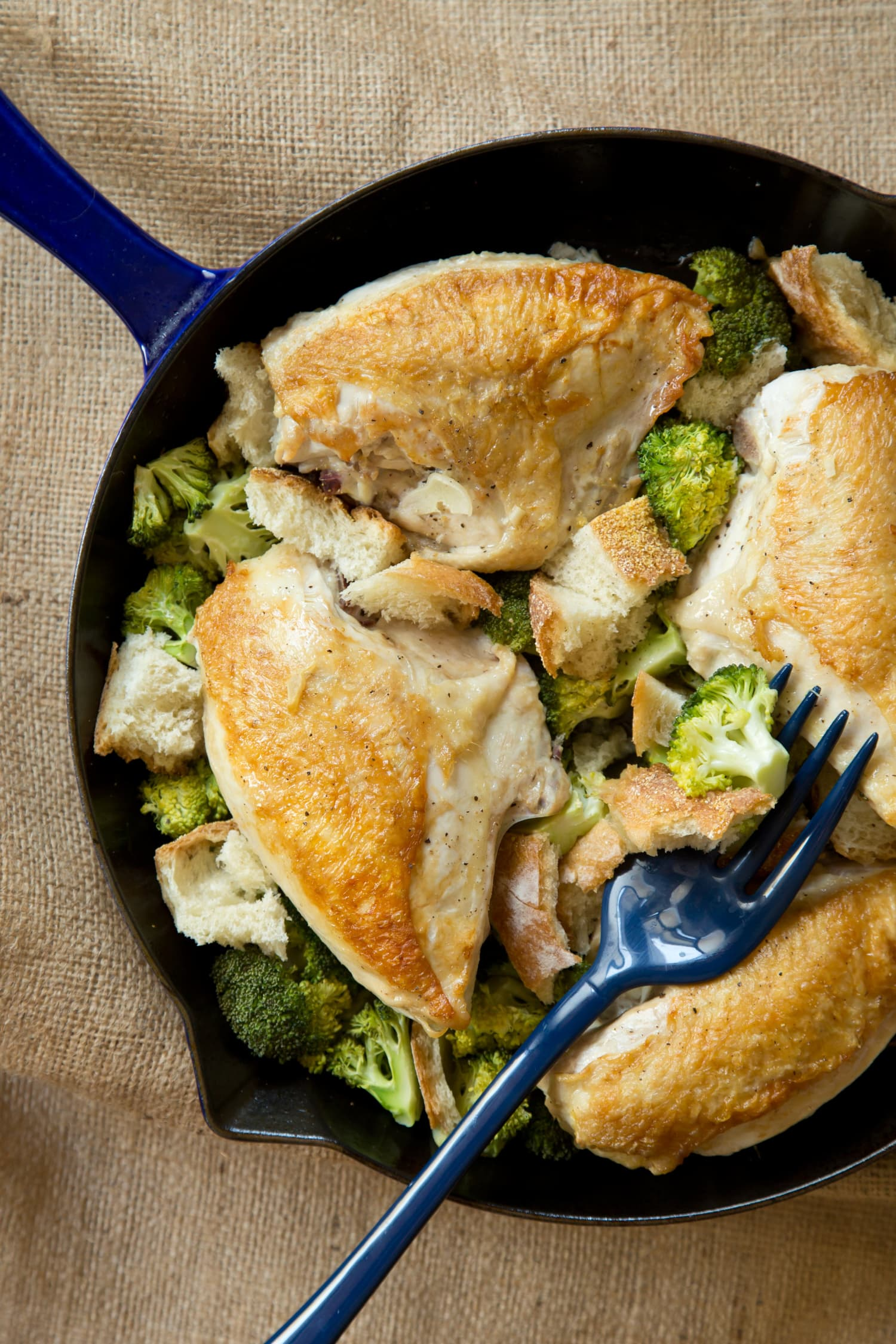 Recipe One Skillet Chicken With Garlicky Broccoli And Croutons Kitchn