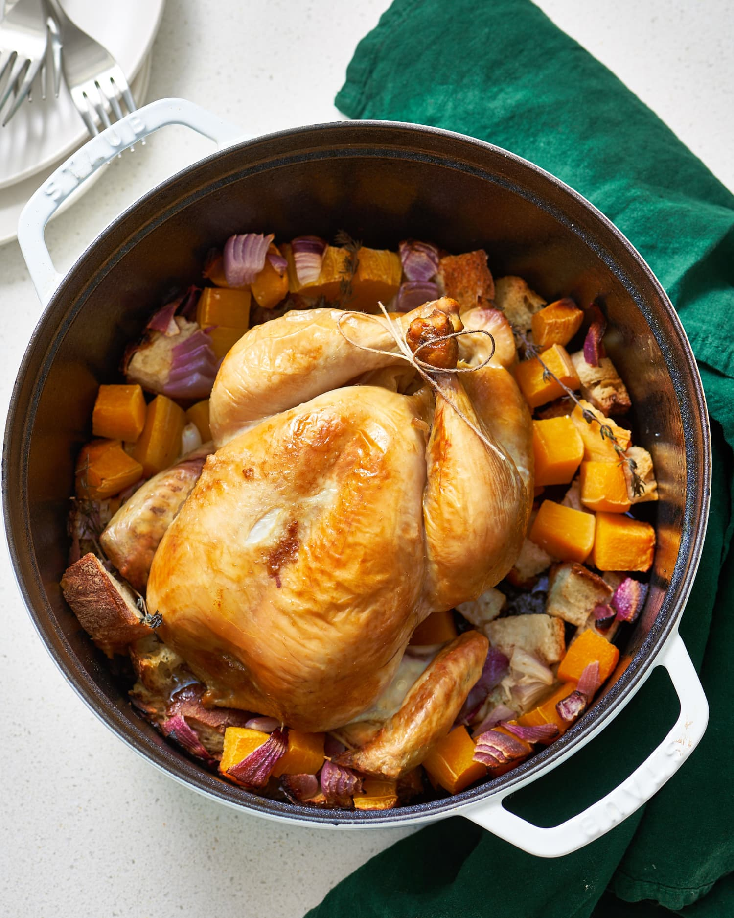 A Whole Roasted Chicken Dinner In A Dutch Oven