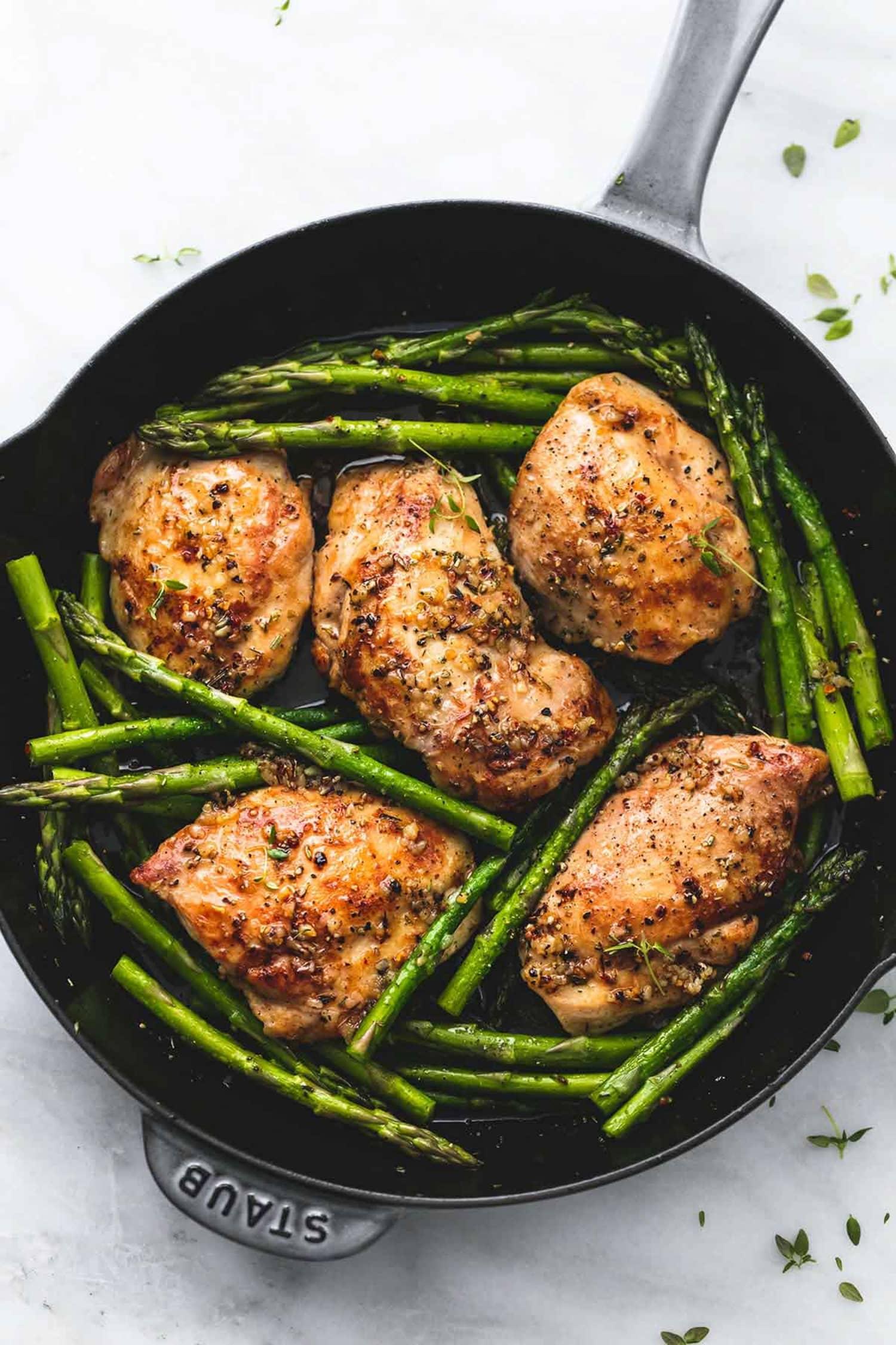 One-Pan Garlic Chicken & Asparagus - Creme de La Crumb | Kitchn