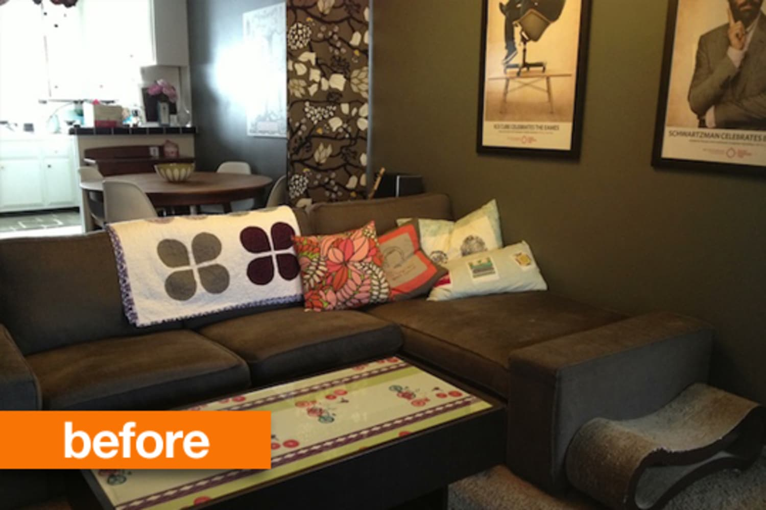 Before & After: From Dark and Dated to a Daring Dyed Sofa ...