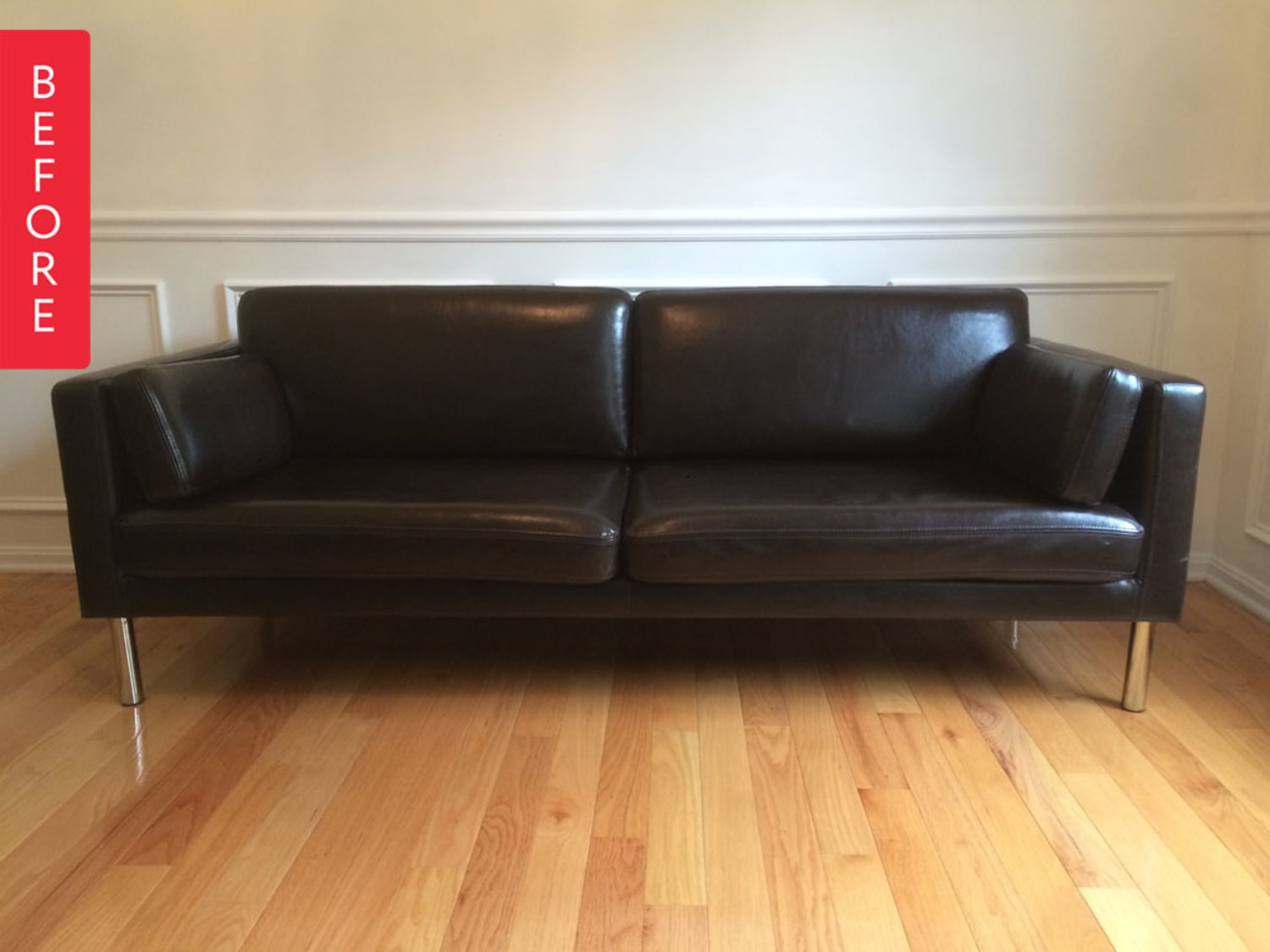 Before & After: DIY Painted Leather Sofa Project ...