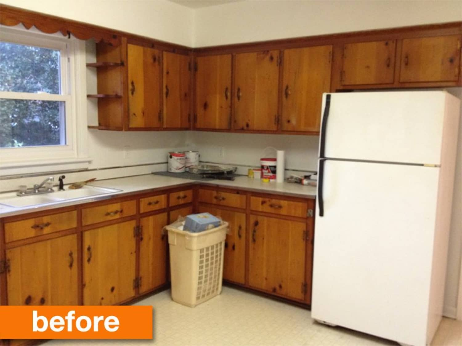 Before after a 1950s kitchen gets a modern diy makeover
