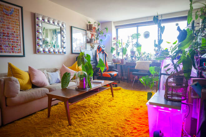 Two Dogs, Two People, and 175 Plants Share 750 Square Feet in NYC
