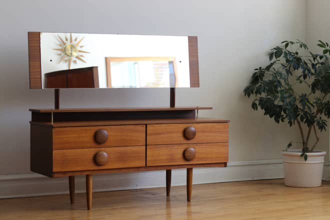 BAZAAR: Beautiful Danish Teak Vanity, Vintage Wicker & More!