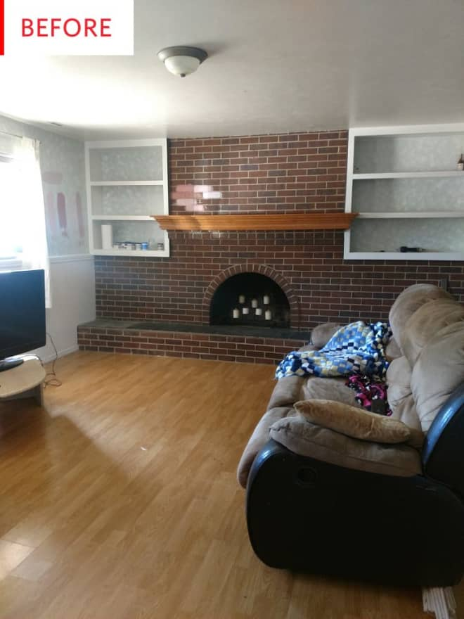 Before and After: A Pink '70s Makeover for a Split-Level Family Room