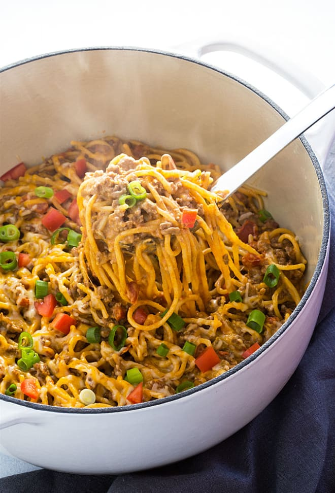 Make This Creamy Taco Spaghetti for Dinner This Week