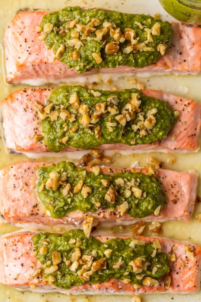 Baked Pesto Salmon Is a Healthy Weeknight Favorite
