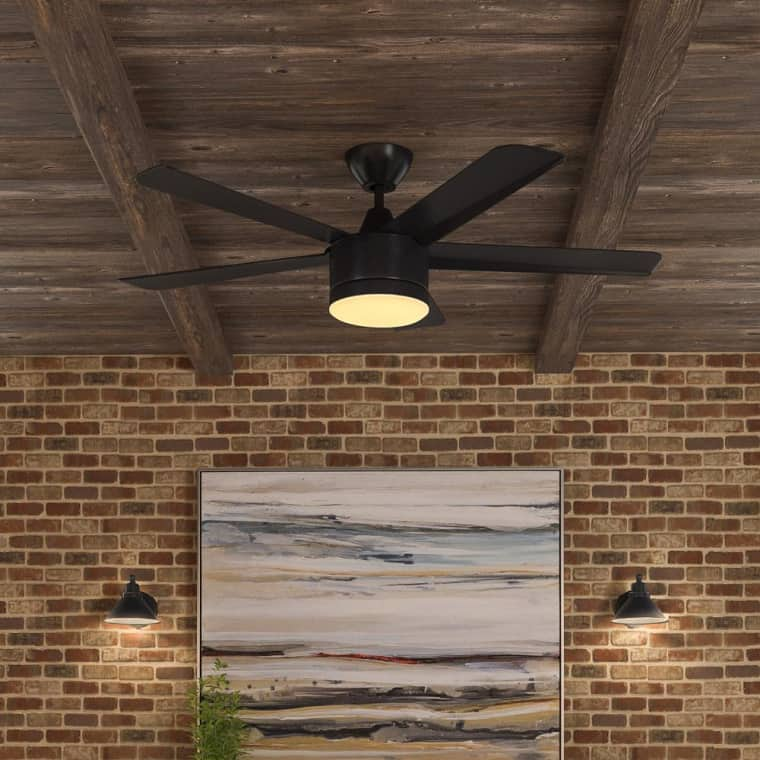 Ventilador de techo negro mate con LED integrado