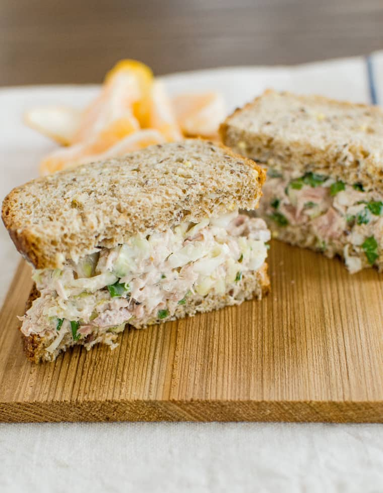 Crisp Tuna Cabbage Salad Sandwich