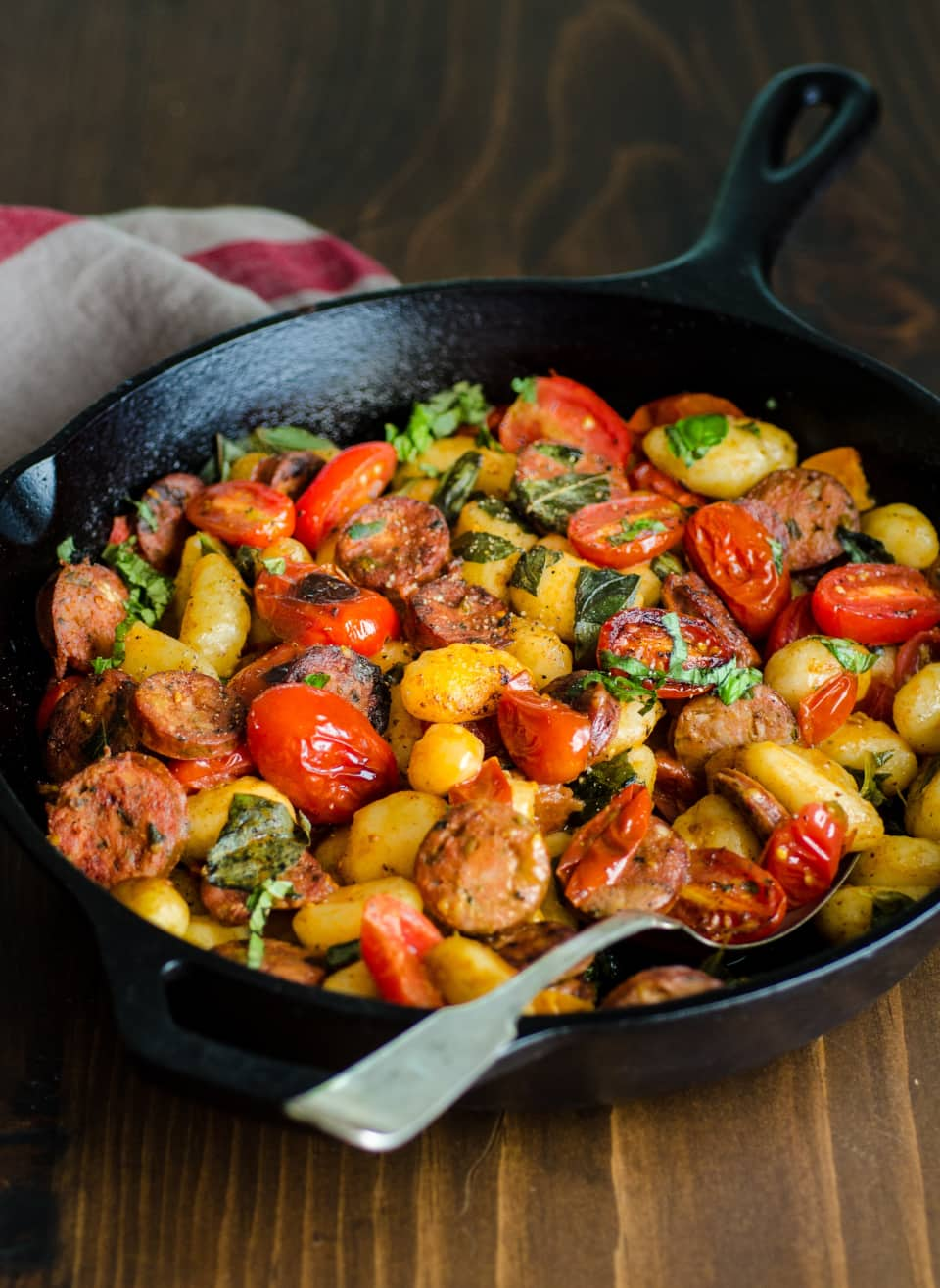 Gnocchi Skillet With Chicken Sausage And Tomatoes   Savory Cast Iron Skillet Dinner Recipes [2nd Edition]