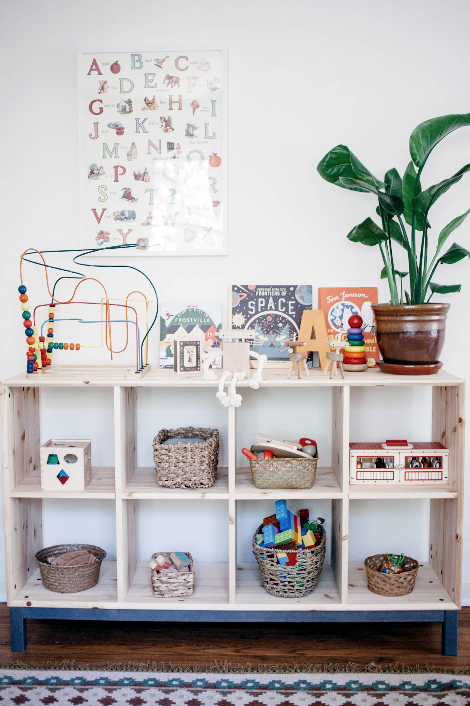 Minimalist playroom toy storage