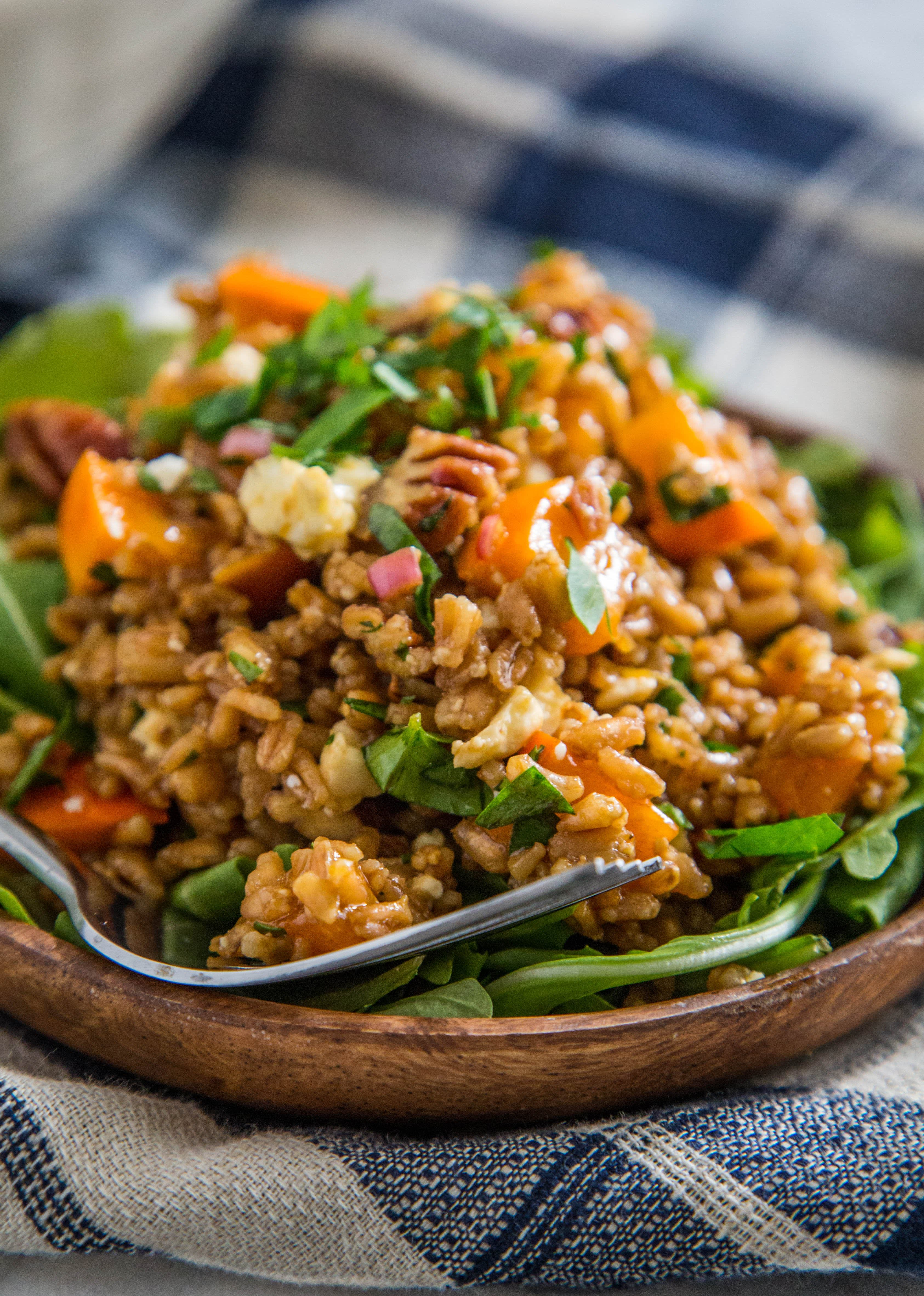 Warm Farro Salad with Roasted Squash, Persimmons and Pecans