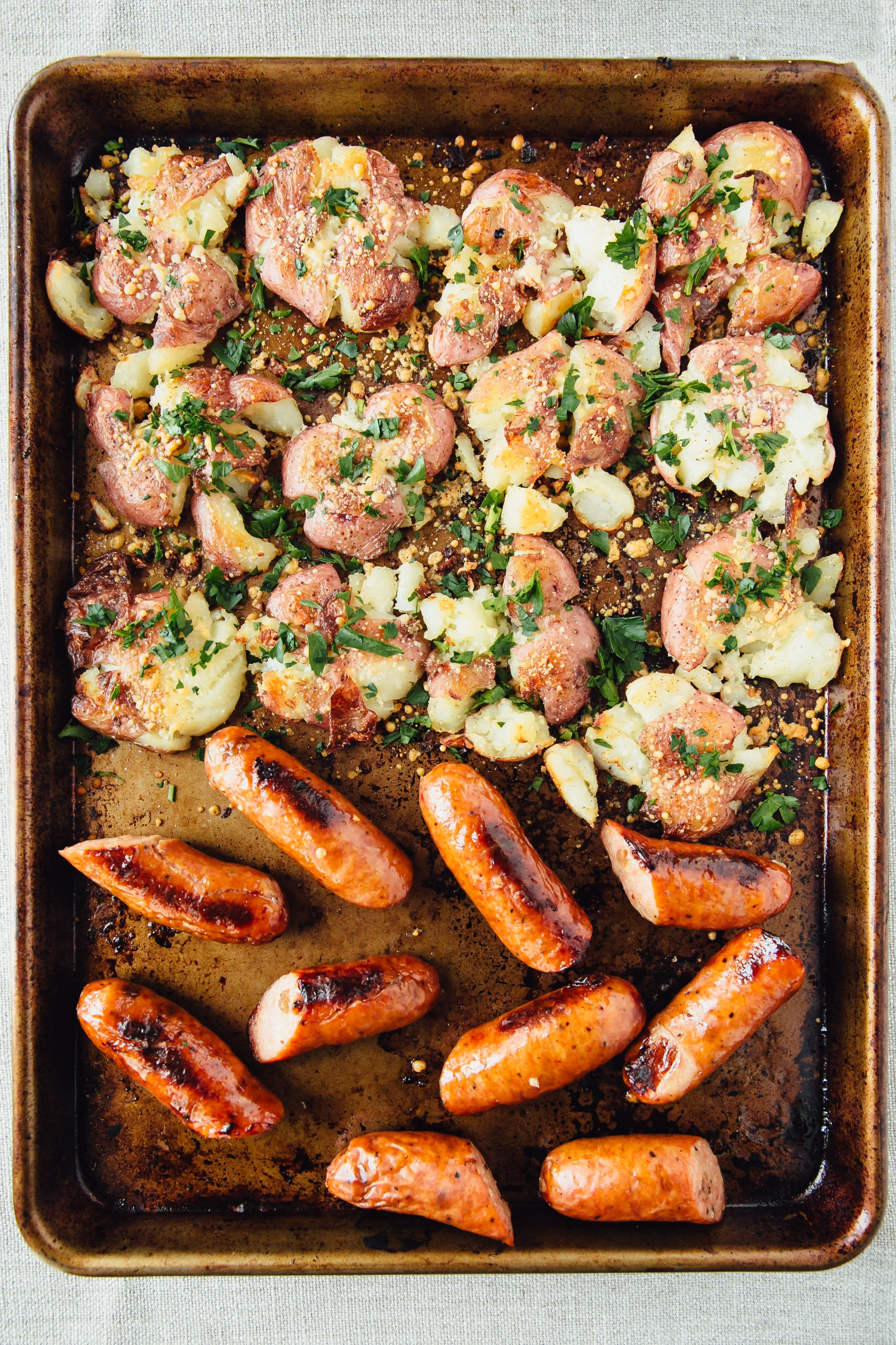 Roasted Smashed Parmesan Potatoes and Sausage