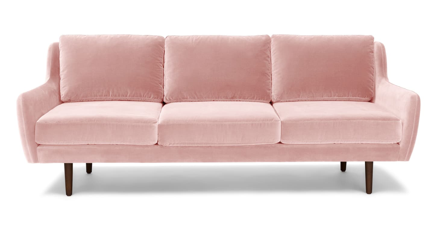 Outstanding When Two Trends Collide 9 Beautiful Pink Velvet Sofas Bralicious Painted Fabric Chair Ideas Braliciousco