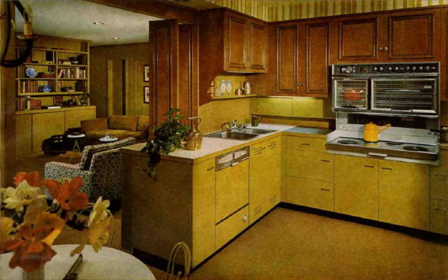 Brief History of the Kitchen from the 1950s to 1960s ... on black red kitchen ideas, black kitchen decorating ideas, black kitchen faucet ideas, black ikea kitchen ideas,