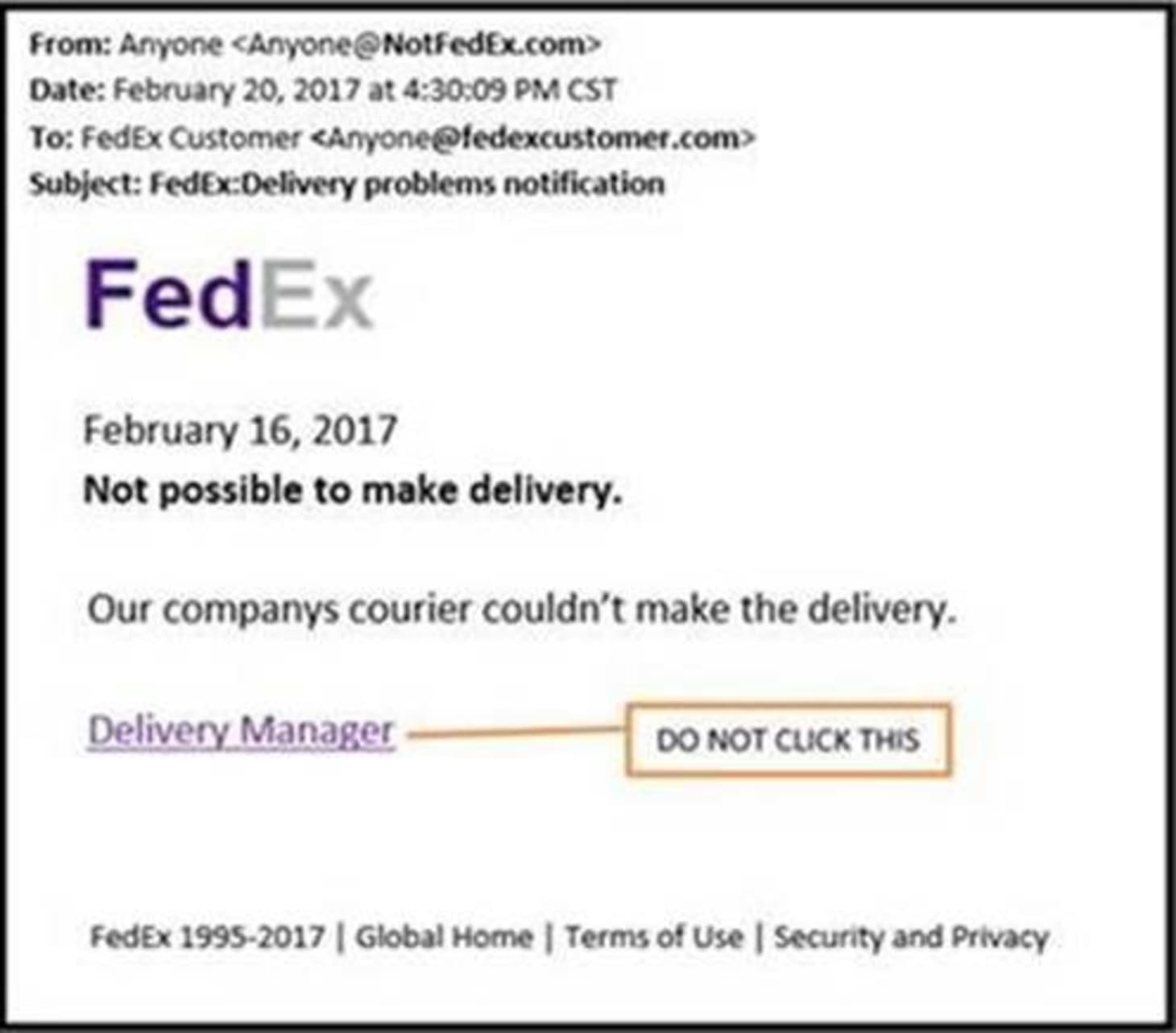 FedEx Scam Fake Delivery Email Virus Information | Apartment