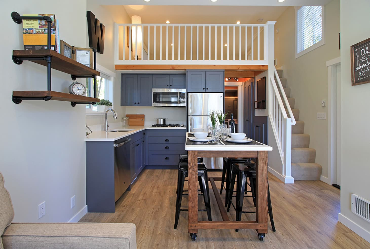 Full One Bedroom Tiny House Layout 400 Square Feet ...