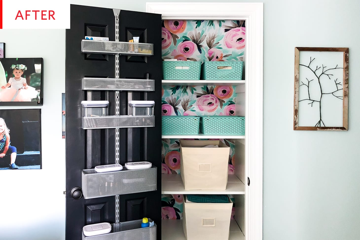Elfa Storage Closet Makeover Removable Wallpaper