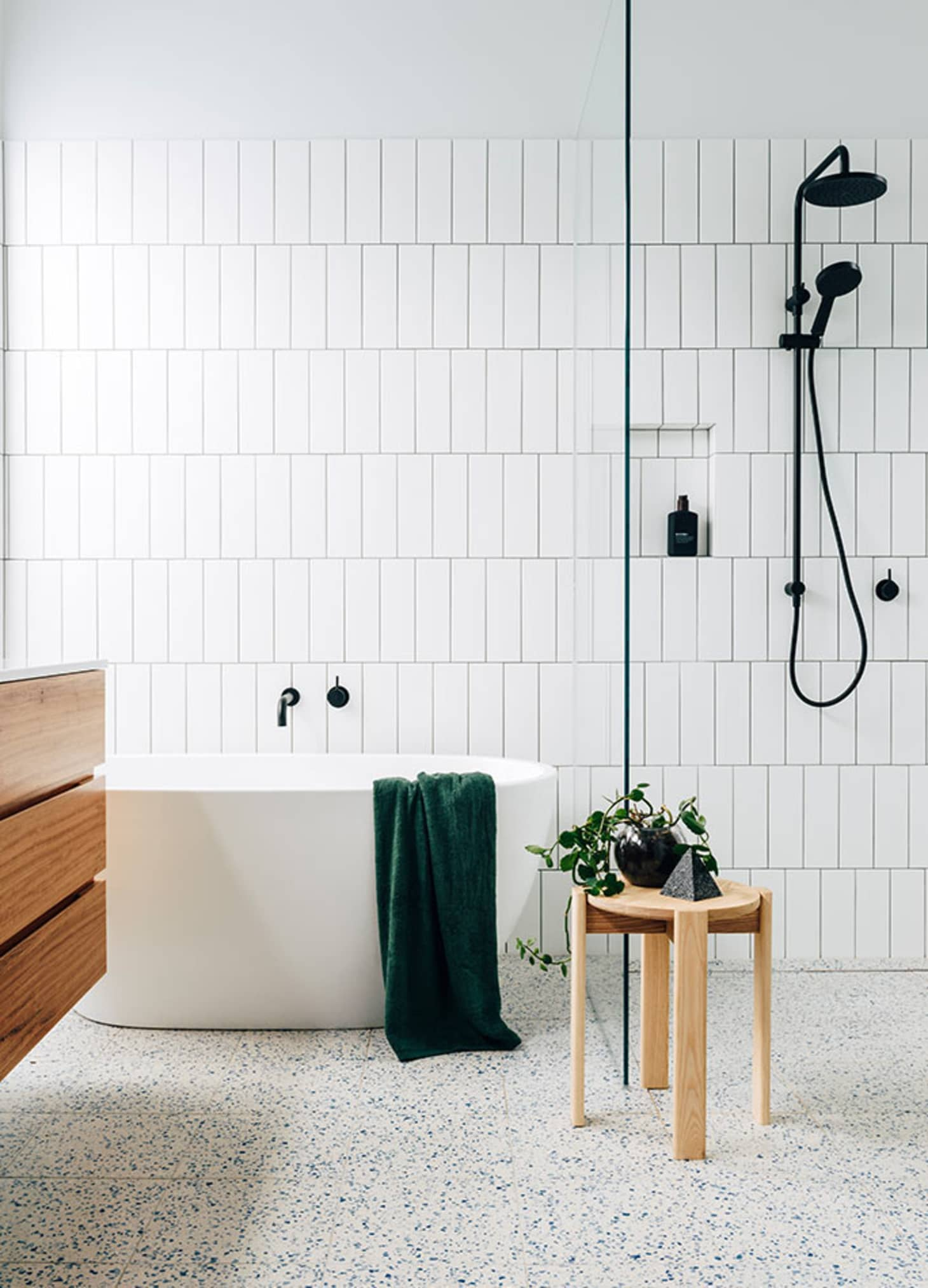 Vertical Stacked Subway Tile Installation Trend | Apartment
