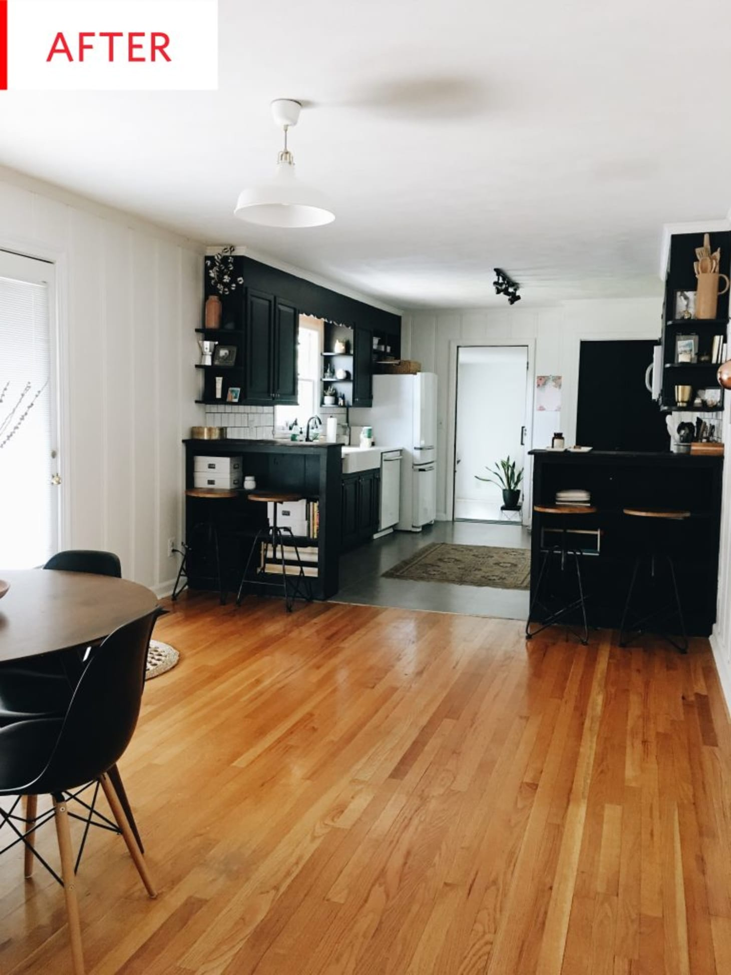 Kitchens With Wood Paneling: Before And After: Black And White Paint Updates A Kitchen