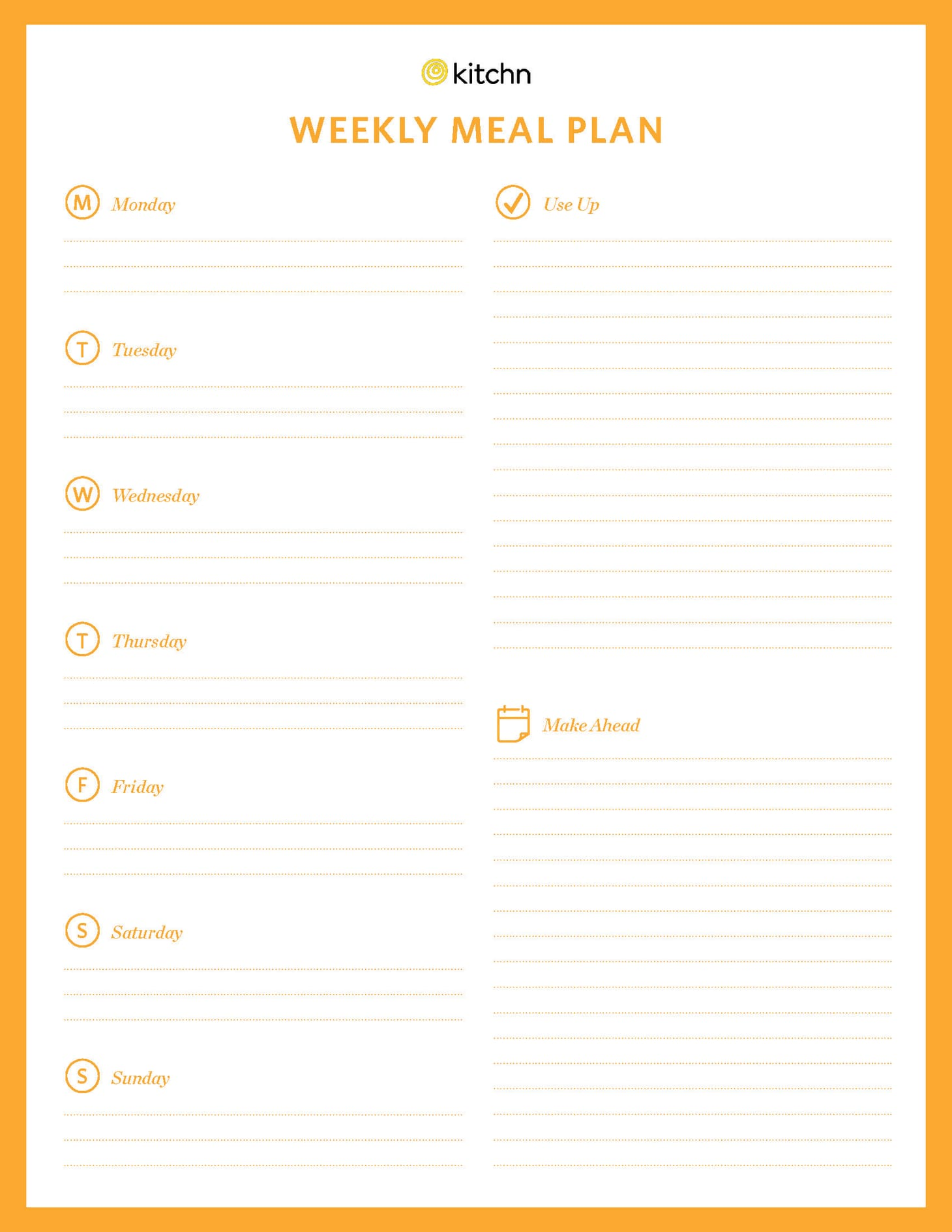 image relating to Printable Weekly Meal Planner named Kitchns Dinner System Template Kitchn